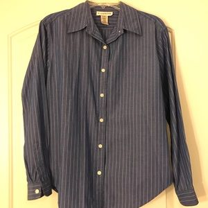 Evan Picone striped button-down blouse Sz 10